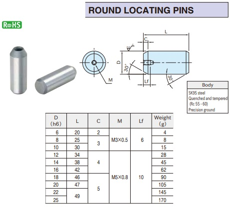 round locating pins